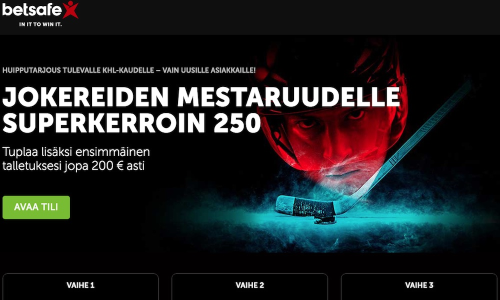 Helsingin Jokereiden KHL-mestaruudelle tarjolla superkerroin 250.