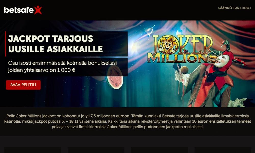 Betsafen Joker Millions jackpot on jo huimat 7,6 miljoonaa euroa.