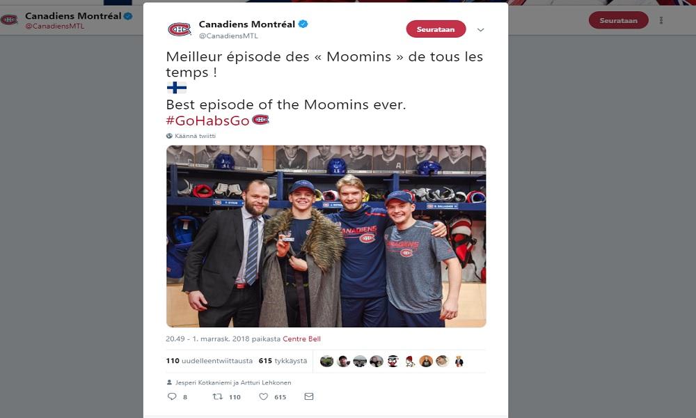 """Montreal huvitteli suomalaispelaajillaan: """"Paras muumien jakso koskaan."""""""