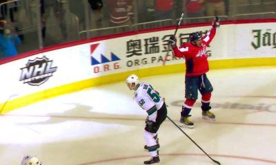 Alexander Ovechkin iski hatun San Jose Sharksin verkkoon ja ohitti Teemu Selänteen.