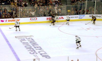San Jose Sharksin Joonas Donskoi hurjan pommin kohteena: Vegas Golden Knightsin Brayden McNabb jyräsi kuin juna ylitse.