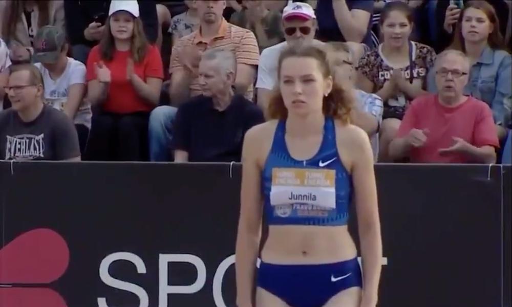 Suomen ennätys rikki - Ellla Junnila loikkasi korkeushypyssä Paavo Nurmi kisoissa Suomen ennätyksen uusiksi upealla loikalla.