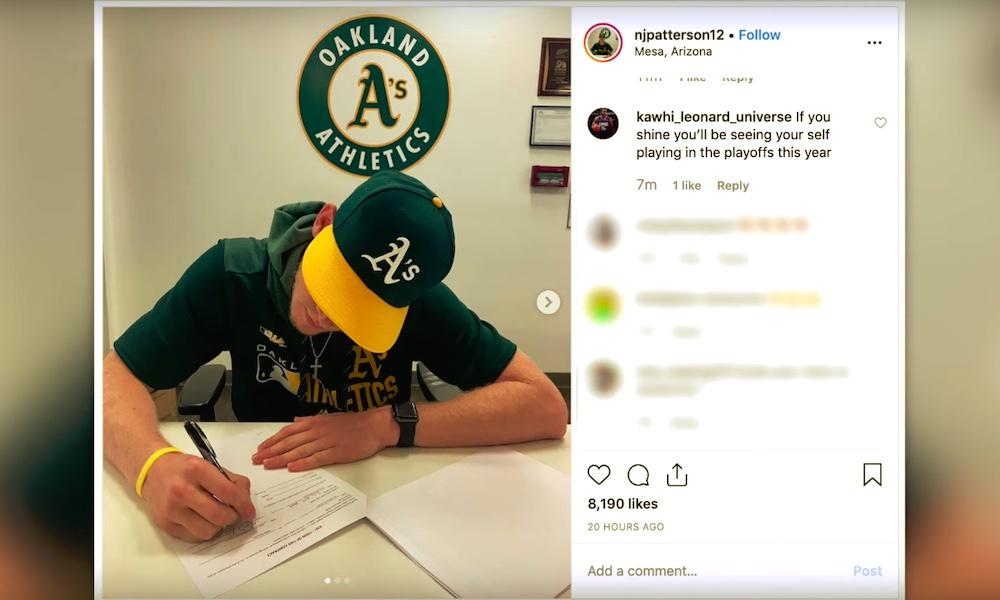 MLB-seura Oakland Athletics sopimukseen fanin kanssa: Nathan Patterson ei ollut pelannut baseballia vuosiin.
