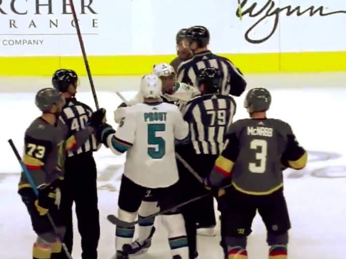 San Jose Sharksin Evander Kane löi tuomaria mailallaan ja tönäisi vielä perään, lentäen suihkuun harjoitusottelussa Vegas Golden Knightsia vastaan.