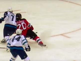 New Jersey Devilsin Blake Colemanilta mieletön yhden käden maali: ohitti Winnipeg Jetsin Laurent Brossoit'n kaatuessaan.