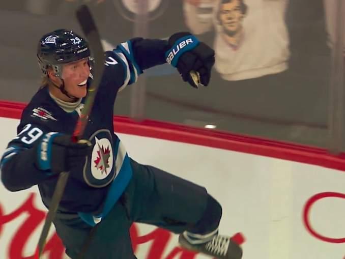 Winnipeg Jetsin Patrik Laine NHL-pistepörssin johtoon: iski tehot 2+2 Minnesota Wildia vastaan.
