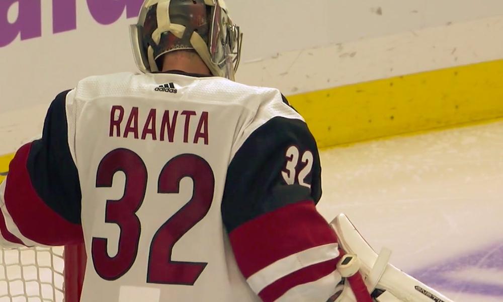 Arizona Coyotesin Antti Raanta torjui Los Angeles Kingsiä vastaan 43 laukausta ja 3-2-voiton, tullen valituksi ottelun ykköstähdeksi.