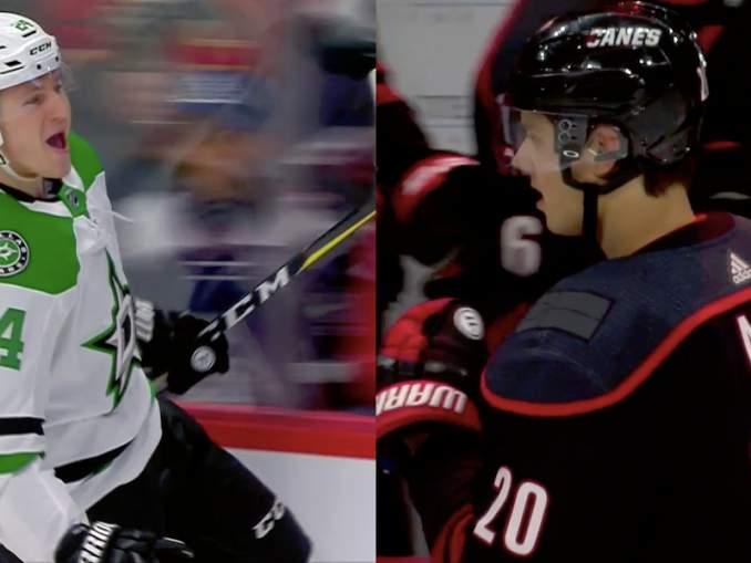 Roope Hintz ja Sebastian Aho iskivät viime yön NHL-kierroksella kaksi maalia mieheen ja johdattivat joukkueensa tahoillaan voittoihin.