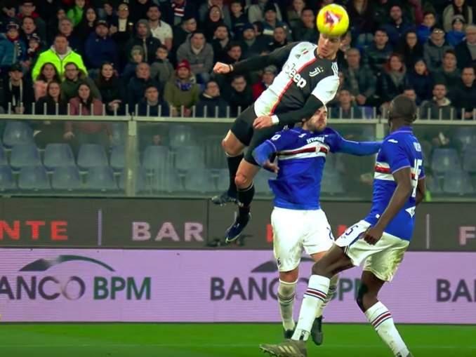 CR7 esitteli täysin posketonta ponnistusvoimaa, kun hän iski voittomaalin Sampdoriaa vastaan ja ikään kuin lensi ilmassa.