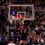James Hardenin upeaa donkkia: pallo kävi korissa, mutta tuomarit eivät sitä nähneet. Houston Rockets hävisi ottelun jatkoajalla.