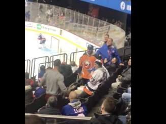 Rähinä leimahti NHL-katsomossa lauantain ja sunnuntain välisenä yönä, kun New York Islanders isännöi Columbus Blue Jacketsia.