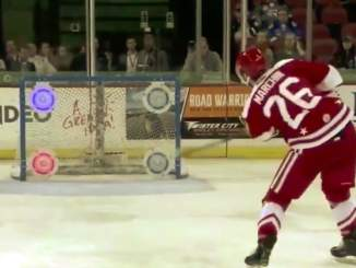 ECHL-pelaaja Tommy Marchin löi jauhot suuhun NHL-tähdille, kun hän kellotti tarkkuuslaukauskilpailussa mykistävän kovan ajan.