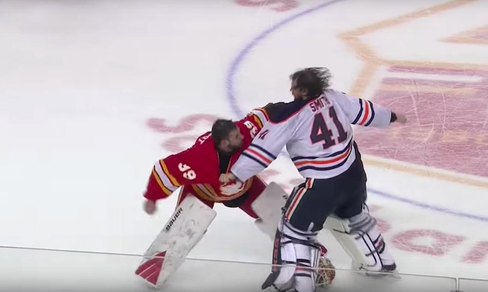 Flames-Oilers-ottelussa oli jälleen kerran täysi rähinä päällä: muun muassa maalivahdit Mike Smith ja Cam Talbot tappelivat.