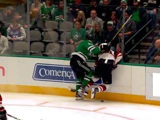 Dallas Starsin kapteeni Jamie Benn lensi suihkuun, kun hän taklasi rumasti Arizona Coyotesin ruotsalaiskippari Oliver Ekman-Larssonia.