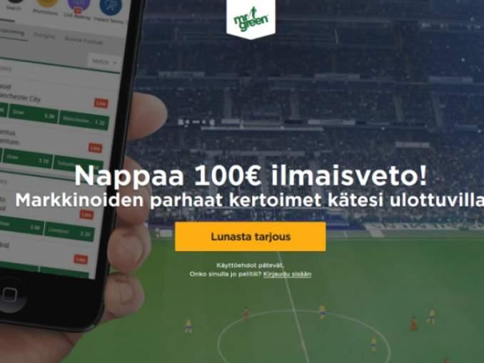 Mr Greenin mahtava tarjous uusille asiakkaille - nappaa 100 euron ilmaisveto