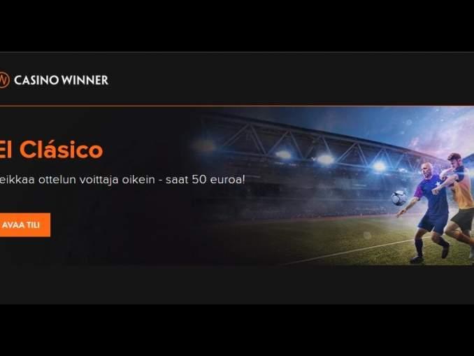 El Clásico, Real Madrid - Barcelona, pelataan sunnuntaina klo 22:00! Valitse puolesi lyömällä vähintään 1 € veto suosikkisi puolesta - saat 50 € oikein veikatessasi! Näet ottelun suorana CasinoWinnerin streaming-palvelusta.
