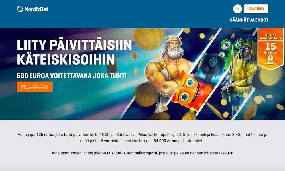 NordicBetin päivittäiset käteiskisat: osallistu täältä - tarjolla on joka tunti 125 € ylimääräistä.