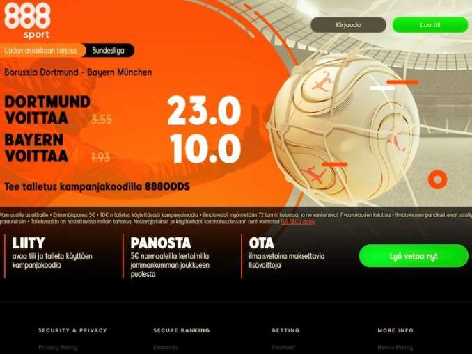 888sportin korotetut kertoimet Bundesliigan kärkikamppailuun lähtevät uusille asiakkaille.