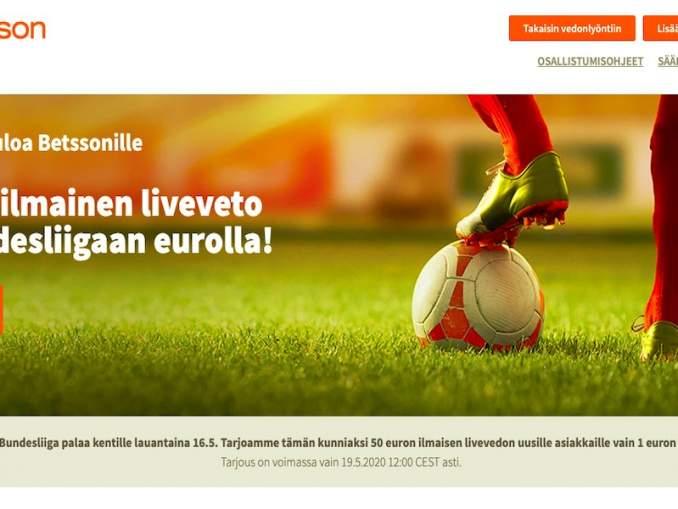 Betssonin huipputarjous: uudet asiakkaat saavat 50 € ilmaisen livevedon Bundesliigaan lyömällä itse 1 € arvoisen vedon.