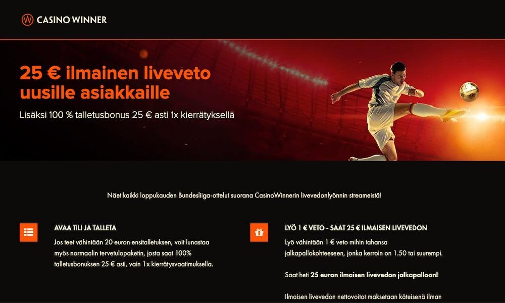 Casino Winnerin uusille asiakkaille lähtee nyt 25 € ilmainen liveveto ja mikä parasta - sinun ei tarvitse kierrättää nettovoittoja!