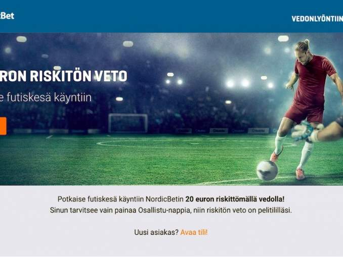 NordicBetilta 20 € riskitön veto sekä uusille että vanhoille asiakkaille!