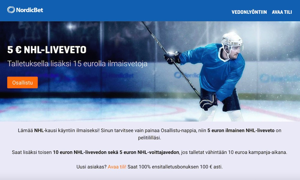 NordicBetiltä nyt 5 € ilmainen NHL-liveveto kaikille asiakkaille!
