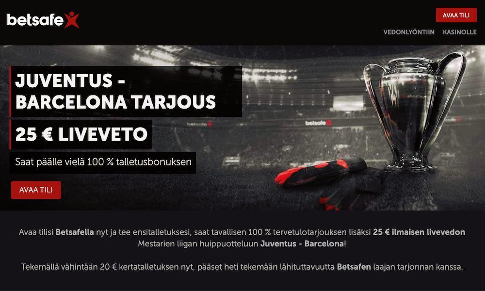 Juventus-Barcelona-peliin tarjolla 25 € ilmainen liveveto!