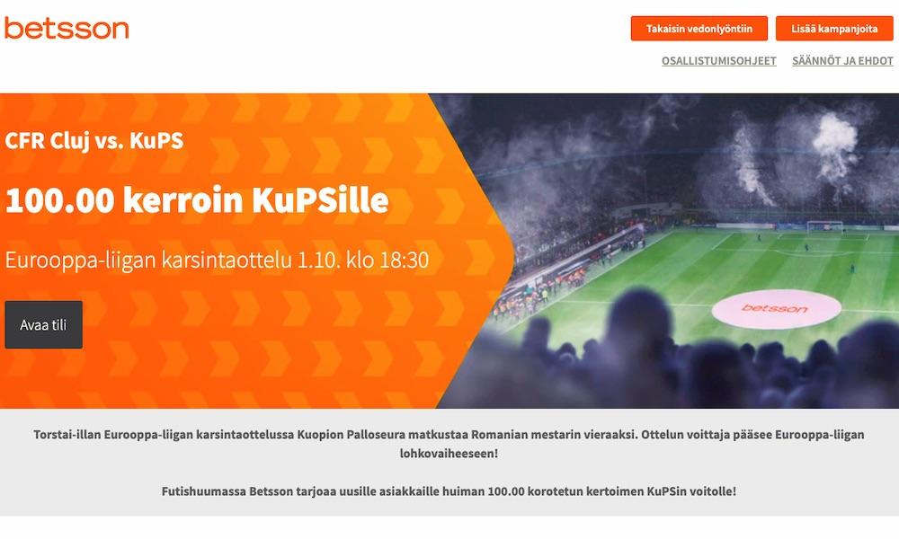 KuPSin voitto CFR Cluj'sta tuo rahat takaisin 100-kertaisesti Betssonin kautta.