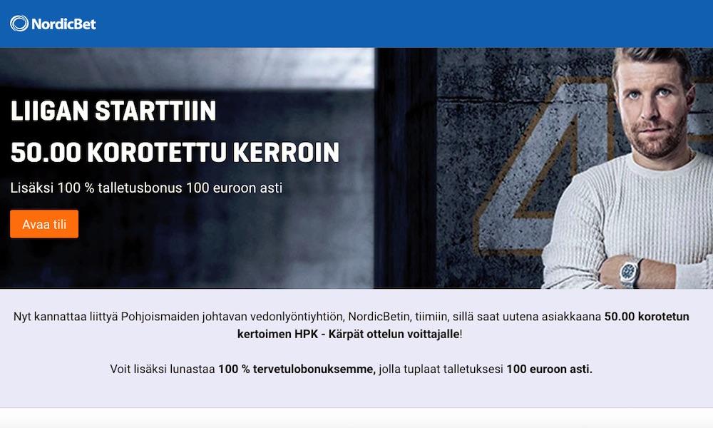 Kärppien ja HPK:n voitoilla voit tehdä nyt ylimääräistä bonusrahaa NordicBetillä.